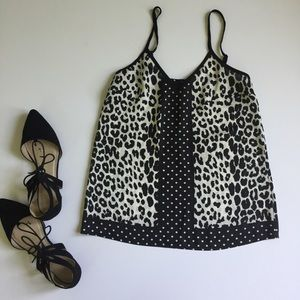 Polka Dot Leopard Black & White Tank Top Spaghetti